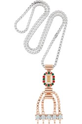 Mawi Silver Plated Rose Gold Plated And Swarovski Crystal Necklace Metallic