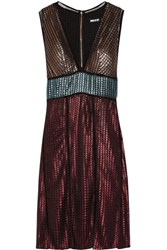 House Of Holland Paneled Metallic Textured Knit Dress