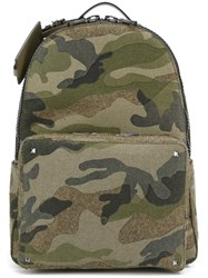 Valentino 'Rockstud' Camouflage Backpack Green