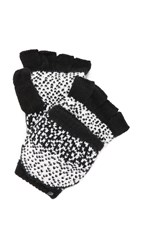 Plush Ombre Dot Texting Mittens Black White