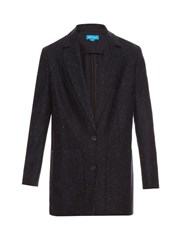 Mih Jeans Dylan Oversized Tweed Jacket Navy