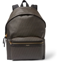 Saint Laurent Leather Trimmed Monogrammed Canvas Backpack Brown