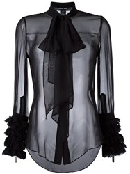 Thomas Wylde Sheer Pussy Bow Shirt Black