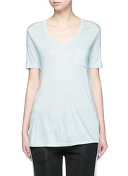 Alexander Wang Pocket Rayon Jersey T Shirt Blue