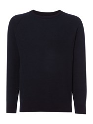 Criminal Ritchie Textured Crew Neck Jumper Navy