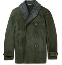 Richard James Double Breasted Shearling Coat Army Green