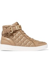Michael Michael Kors Essex Studded Quilted Leather High Top Sneakers Nude