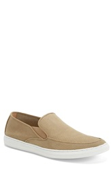 1901 'Venice' Perforated Suede Slip On Men Khaki Suede