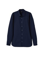 Mango Slim Fit Printed Cotton Shirt Navy