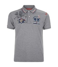 La Martina Pony Sketch Polo Shirt Light Grey