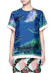 Emilio Pucci Feather Print Silk Twill Top Multi Colour