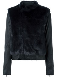 08Sircus Faux Fur Panel Leather Jacket Blue