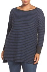 Caslonr Plus Size Women's Caslon Stripe Long Sleeve Tunic