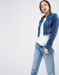 Only Cropped Raw Edge Denim Jacket Dark Blue