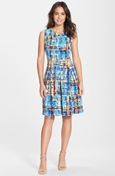 Belted Print Fit And Flare Dress Blue Multi