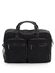 Kenneth Cole Leather Trimmed Soft Convertible Briefcase Backpack Black