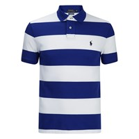 Polo Ralph Lauren Men's Short Sleeve Slim Fit Striped Polo Shirt Royal White