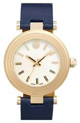 Women's Tory Burch Leather Strap Watch 35Mm Navy Ivory