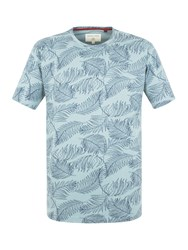 Racing Green Sherwood Palm Leaf Print T Shirt Blue