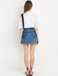 Pixie Market Denim Faded Back Mini Skirt