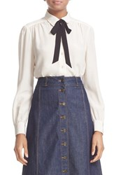 Kate Spade Women's New York Bow Tie Silk Blouse
