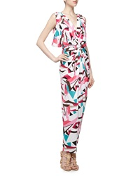 T Bags T Bags Knot Front V Back Geometric Print Maxi Dress Multi Color