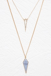 Forever 21 Rhinestone Encrusted Layered Necklace Light Blue Gold