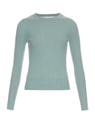 Red Valentino Cashmere And Silk Blend Ribbed Knit Sweater Mint