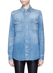 Givenchy Pearlescent Button Stud Denim Shirt Blue