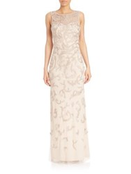 Aidan Mattox Beaded Embroidery Gown Champagne