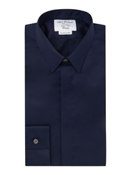 T.M.Lewin Plain Tailored Fit Long Sleeve Shirt Navy