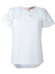 N 21 Nao21 'Lace Embroidered' T Shirt White