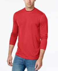 Tasso Elba Men's Big And Tall Performance Uv Protection Long Sleeve T Shirt Coral Depth