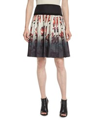 Marc Jacobs Pleated Abstract Floral A Line Skirt Cream