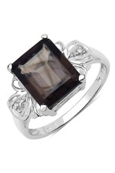 Olivia Leone Sterling Silver Smoky Topaz And White Topaz Ring Brown