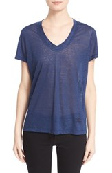 Women's Burberry Brit Linen Knit V Neck Tee Brilliant Navy