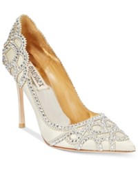 Badgley Mischka Rouge Evening Pumps Women's Shoes Ivory Satin Suede