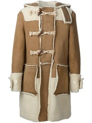 Sacai Shearling Duffle Coat Brown
