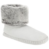 John Lewis Faux Fur Turn Down Boot Slippers Grey