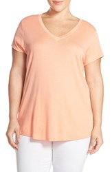 Plus Size Women's Sejour Short Sleeve V Neck Tee Coral Pink