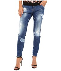 Dsquared Blanket Patch Destroyed Wash Cool Girl Jeans In Blue Blue Women's Jeans
