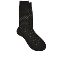 Barneys New York Polka Dot Mid Calf Socks Charcoal