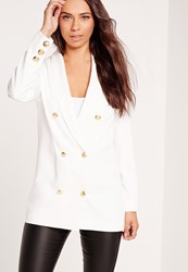 Missguided Straight Button Detail Double Breasted Blazer White White