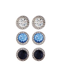 Fragments For Neiman Marcus Round Crystal Stud Earring Trio Blue