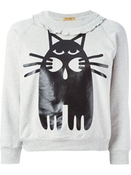 Peter Jensen Cat Print Sweatshirt Grey