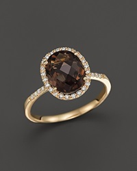 Bloomingdale's Smokey Topaz And Diamond Halo Ring In 14K Yellow Gold Brown Gold