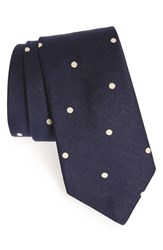 Men's Todd Snyder White Label Dot Cotton And Silk Tie Navy