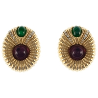 Eclectica Vintage 1980S Ciner Double Cabochon Gold Plated Clip On Earrings