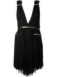 Jay Ahr Gold Tone Detail Fringed Dress Black