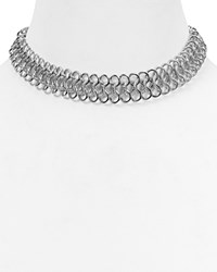 Kenneth Jay Lane Chain Link Choker Necklace 12 Silver